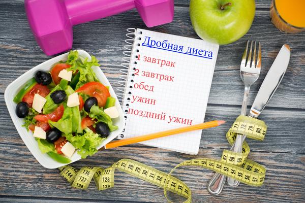 Дробная диета включает в себя 5 приемов пищи каждые три часа