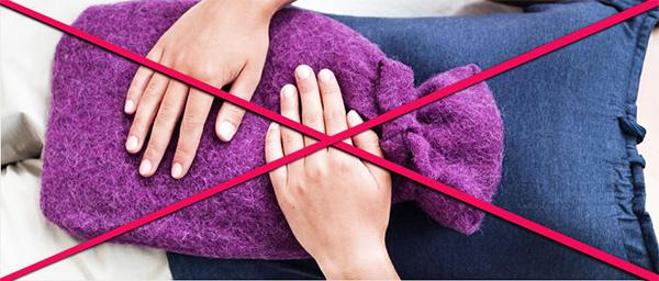 Запрет на применение тепловых процедур на живот